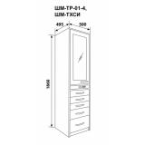 ШМ-ТР-01-4 - шкаф одностворчатый, верх – дверь металл и 2полки, низ - 4 выдвижных ящика 1860х500х495 мм