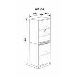 ШМ-А2 - шкаф одностворчатый, верх – дверь стекло прозрачное в металлическом обрамлении и 2 полки, низ дверь металл и одна полка